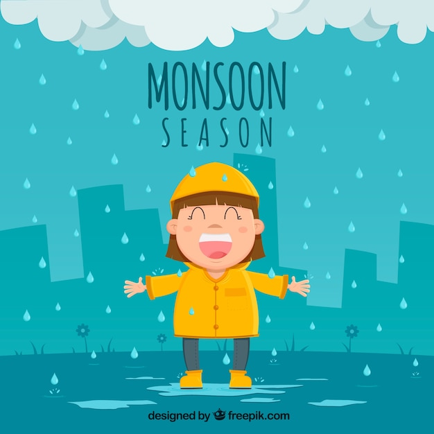 Monsunu Sezonu Tło Z Szczęśliwą Dziewczyną Darmowych Wektorów