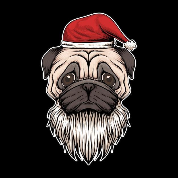 Mopsa psi kapelusz i brody santa boże narodzenia ilustracyjni Premium Wektorów