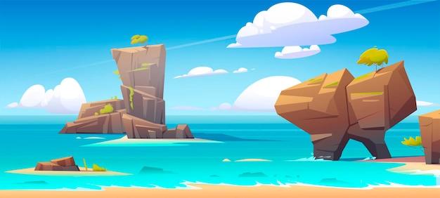Morska Plaża Z Dużymi Skałami W Wodzie I Niebieskim Niebie Darmowych Wektorów