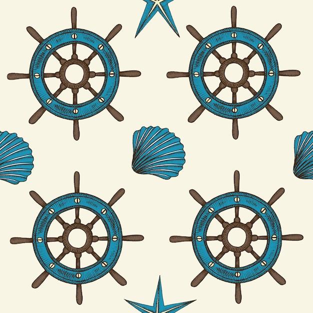 Morski bezszwowy wzór z ręka rysującymi wektorowymi skorupami i kołem Premium Wektorów