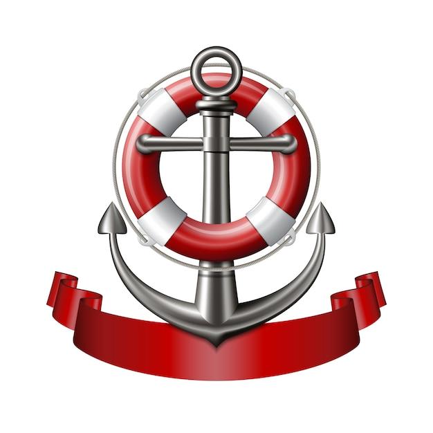Morski Emblemat Z Kotwicą, Kołem Ratunkowym I Czerwoną Wstążką Premium Wektorów