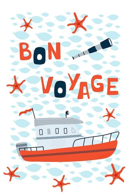 Morski Plakat Dziecięcy Z Motorówką I Napisem Bon Voyage W Stylu Kreskówki. Premium Wektorów