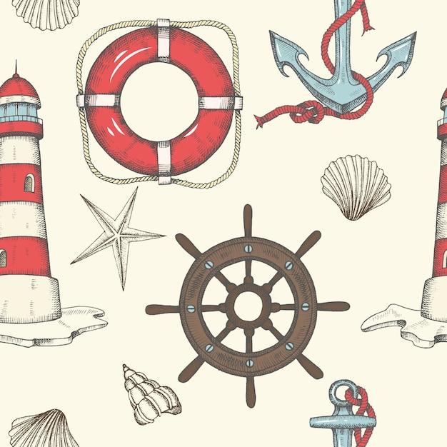 Morski wzór. ręcznie rysowane rocznika kotwica, latarnia morska, muszle, koło ratunkowe i koło zamachowe Premium Wektorów