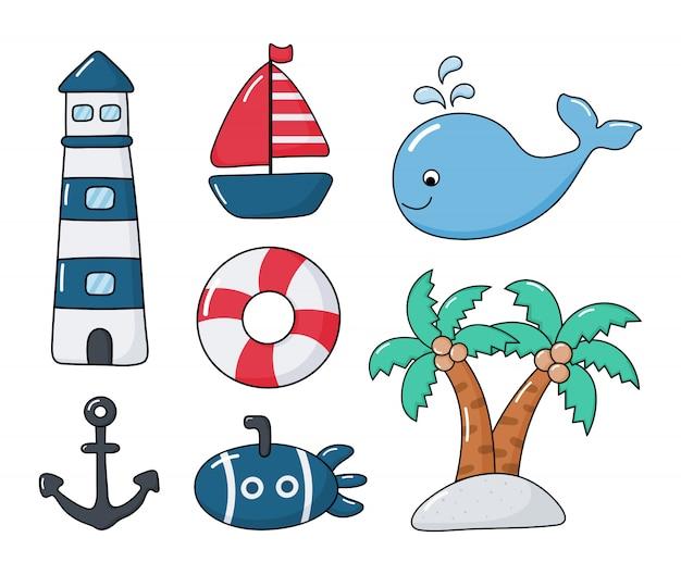 Morski Zestaw Stylu Cartoon. Odosobniony Premium Wektorów