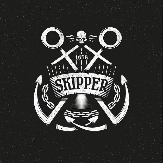 Morskie logo grunge z dwoma skrzyżowanymi kotwicami, wstążką i łańcuchem. Premium Wektorów