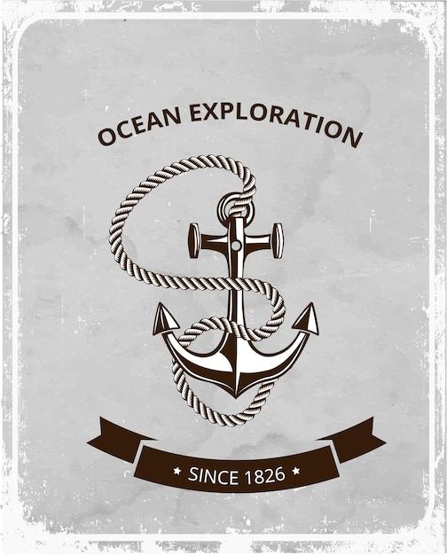 Morskie Symbole Logo Na Tle Retro Grunge, Kotwica Z Liną I Baner Z Miejscem Na Tekst. Premium Wektorów