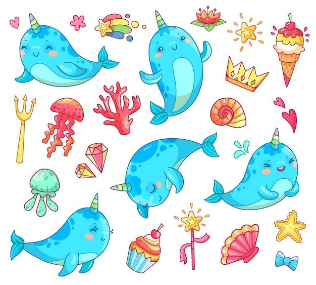 Morskie zwierzę kawaii postać dziecko bajkowe jednorożec narwhal. Premium Wektorów