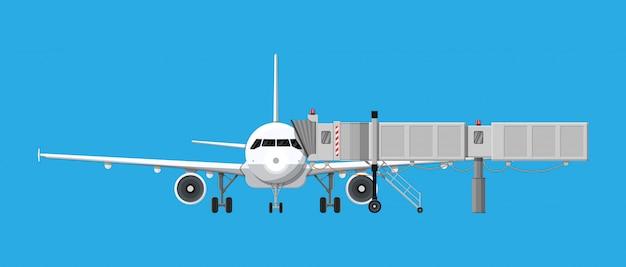 Mostek Powietrzny Lub Pomost Z Samolotem Premium Wektorów