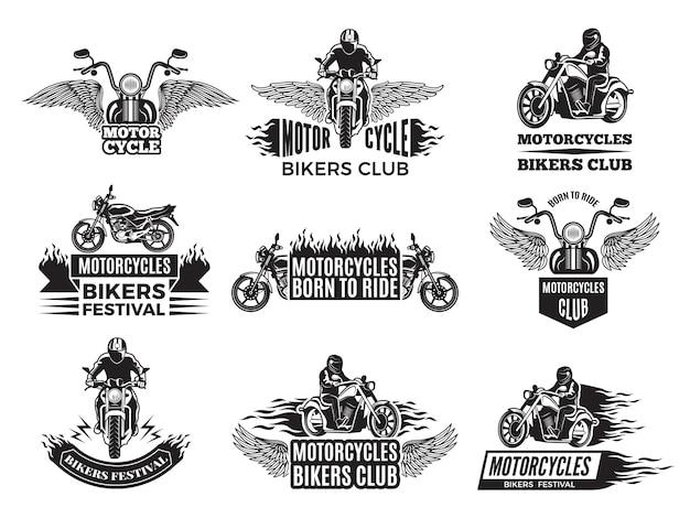 Motocykl. Logo Dla Klubu Rowerowego Premium Wektorów