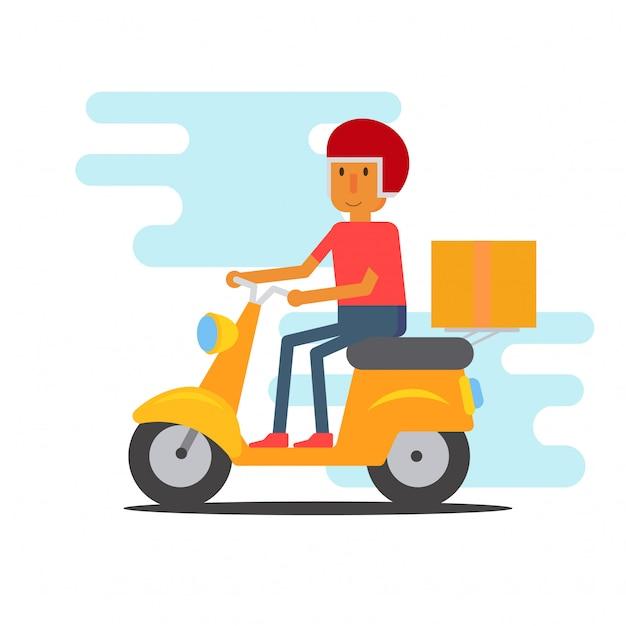 Motocykl mężczyzna kurier płaski kształt Premium Wektorów