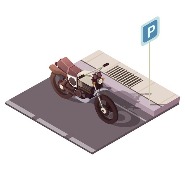 Motocykl parkować isometric pojęcie z miasto ruchu drogowego symboli / lów wektoru ilustracją Darmowych Wektorów