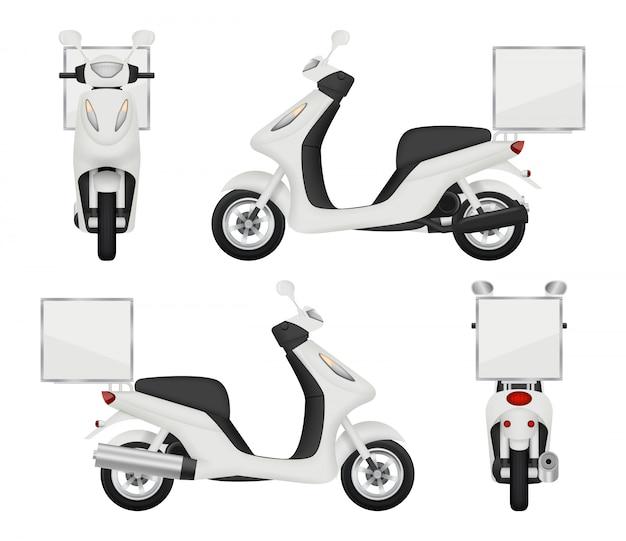 Motocykl Realistyczny. Widoki Hulajnoga Dla Doręczeniowej Usługa Odgórnej Strony Z Powrotem 3d Transportu Odizolowywającego Premium Wektorów