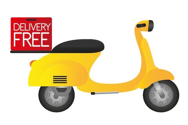 Motocykl Z Pudełkiem Dostawy Na Białym Tle Premium Wektorów