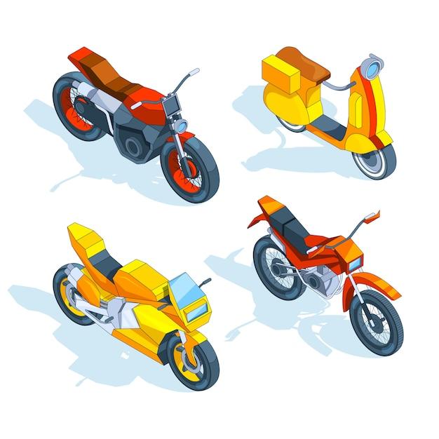 Motocykle izometryczne. 3d Premium Wektorów
