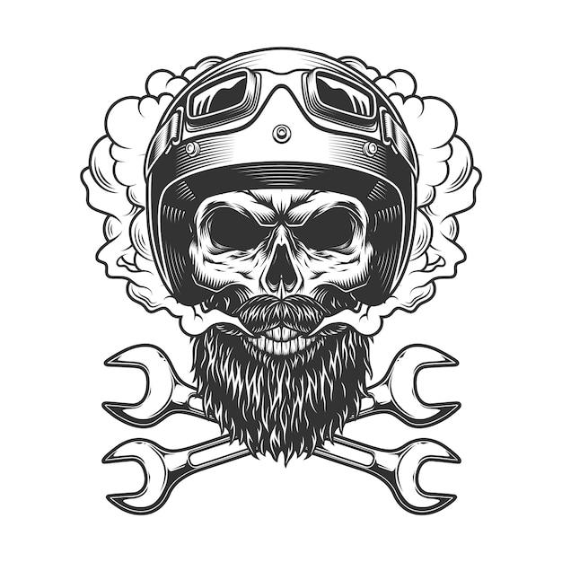 Motocyklista Czaszki W Hełmie I Gogle Darmowych Wektorów