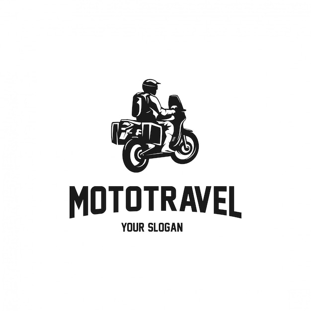 Motocyklowa Przygoda Dla Podróżnika Logo Sylwetki Premium Wektorów