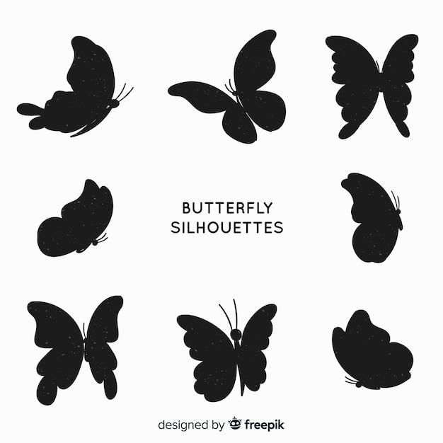 Motyl sylwetki pływające Darmowych Wektorów