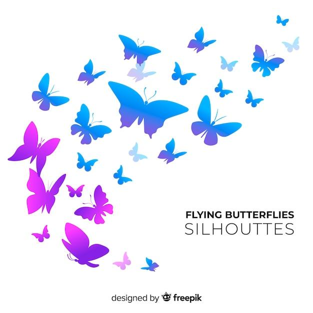 Motyl sylwetki rój tło Darmowych Wektorów