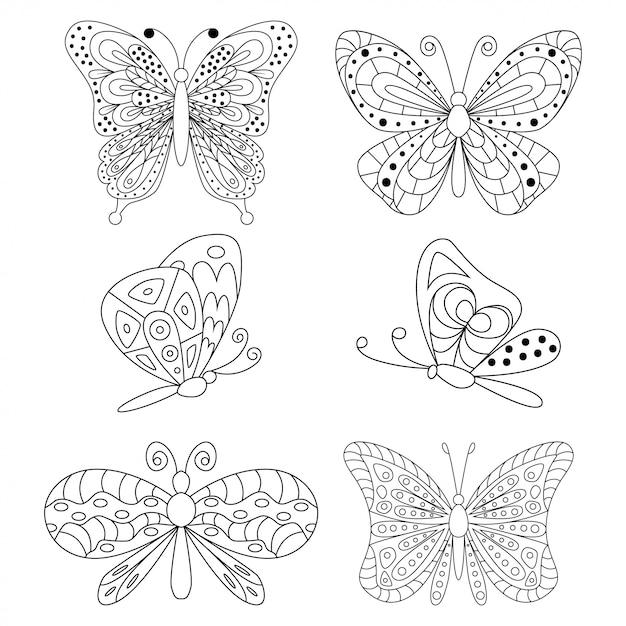 Motyle Czarne Sylwetki Zestaw Kreskówka Na Białym Tle Na Białym Tle. Premium Wektorów
