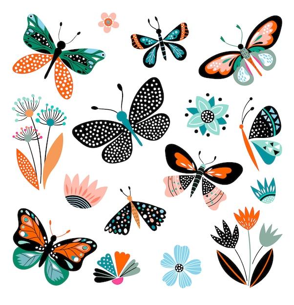 Motyle i kwiaty, ręcznie rysowane zbiór różnych elementów, na białym tle Premium Wektorów