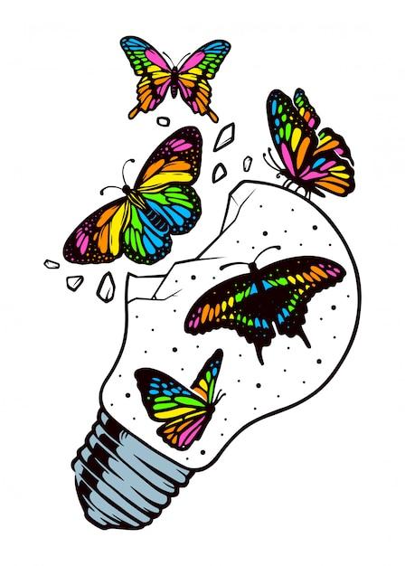 Motyle Mogą Swobodnie Latać Premium Wektorów
