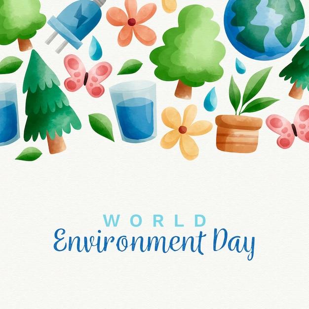 Motyw Akwareli światowego Dnia środowiska Darmowych Wektorów