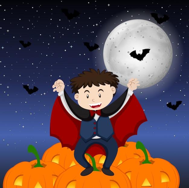 Motyw halloween z chłopcem w kostiumie wampira Darmowych Wektorów