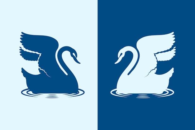 Motyw Ilustrowany Sylwetką łabędzia Darmowych Wektorów