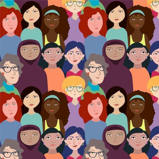 Motyw Imprezy Z Motywem Twarze Kobiet Darmowych Wektorów