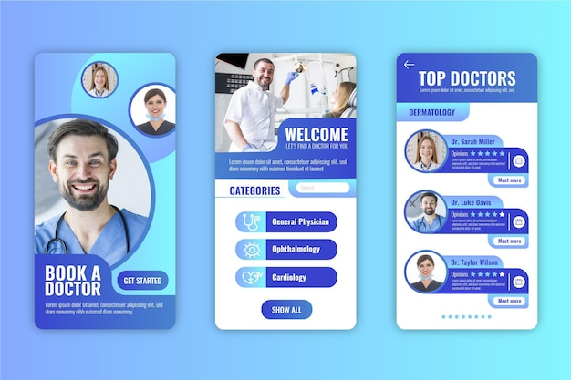 Motyw Interfejsu Aplikacji Rezerwacji Medycznej Darmowych Wektorów