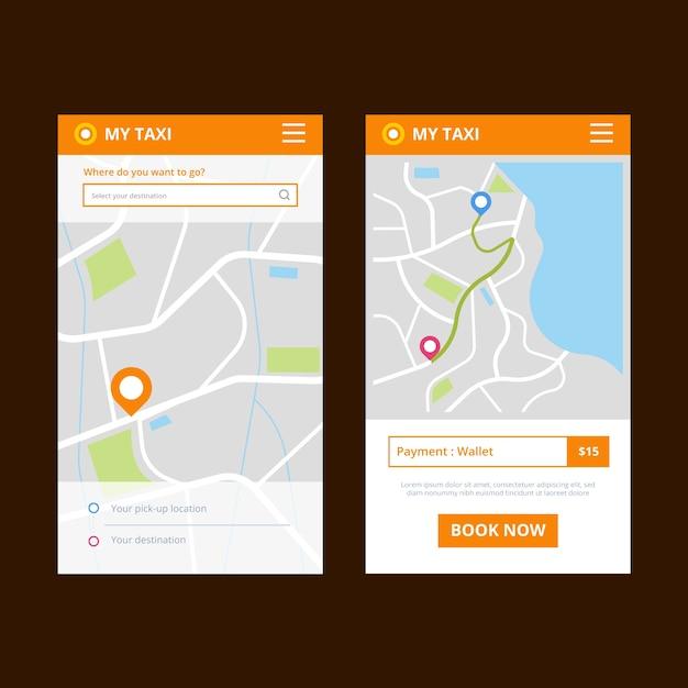 Motyw Interfejsu Aplikacji Taxi Darmowych Wektorów