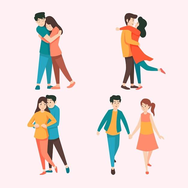 Motyw Kolekcji Para Walentynki Darmowych Wektorów