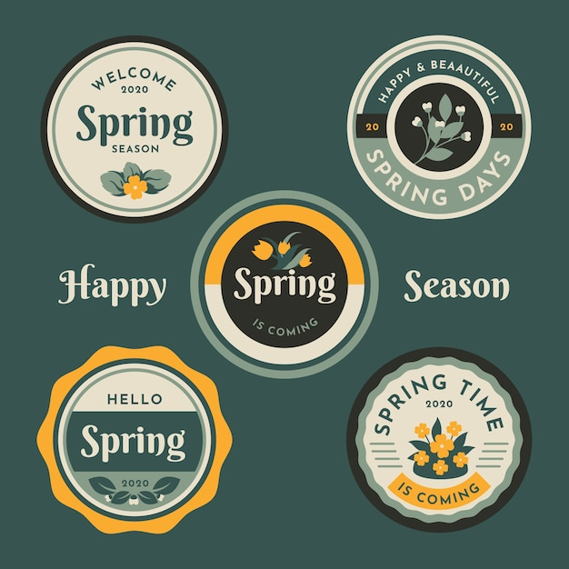 Motyw Kolekcji Vintage Etykieta Wiosna Darmowych Wektorów