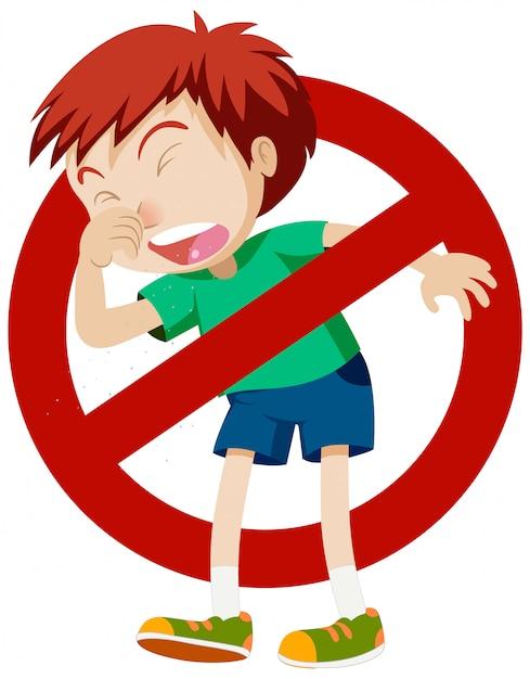 Motyw Koronawirusa Z Kaszlem Chłopca I Znakiem Stop Darmowych Wektorów