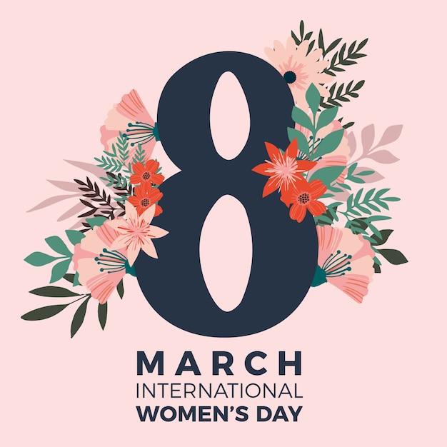 Motyw Kwiatowy Na Wydarzenie Z Okazji Dnia Kobiet Darmowych Wektorów