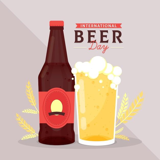 Motyw Międzynarodowego Dnia Piwa Darmowych Wektorów