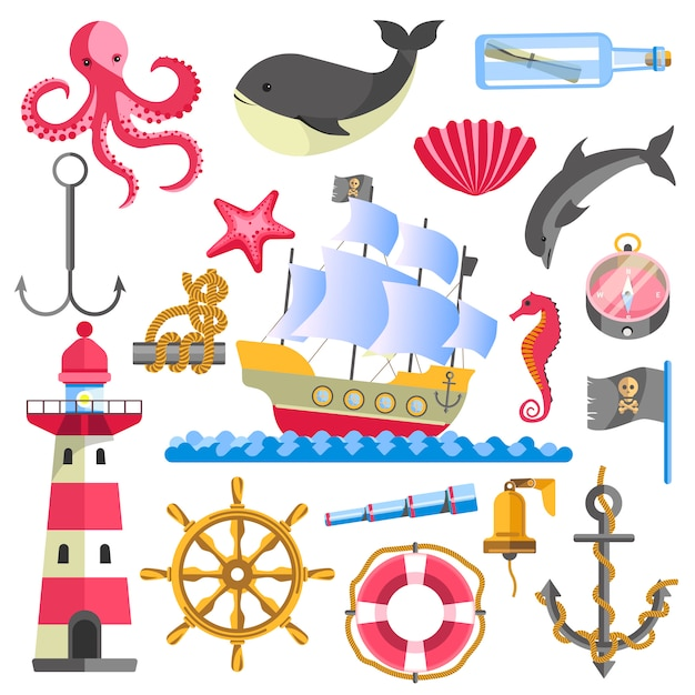 Motyw morski tradycyjne elementy morskie na białym tle Premium Wektorów