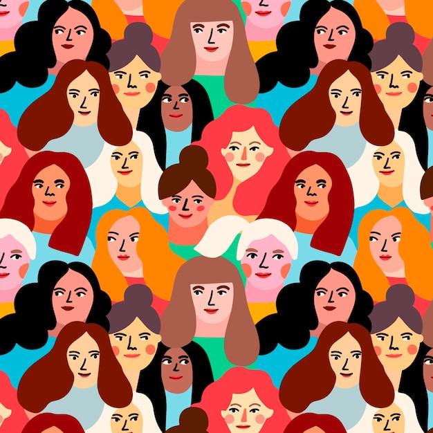 Motyw Na Wzór Dnia Kobiet Z Twarzami Kobiet Darmowych Wektorów