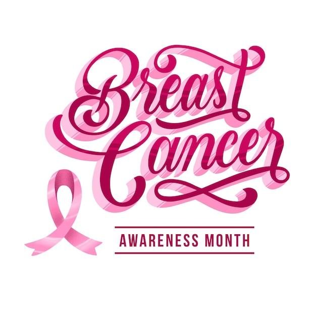 Motyw Napisu Miesiąca świadomości Raka Piersi Darmowych Wektorów