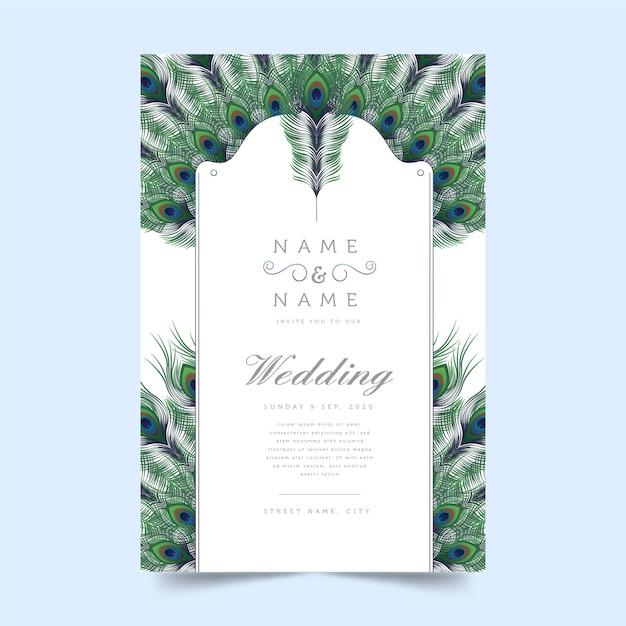 Motyw Pawie Pióro Na Koncepcji Zaproszenia ślubne Darmowych Wektorów