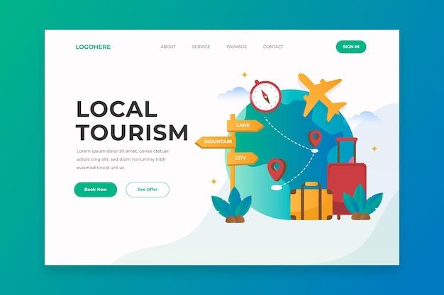 Motyw Strony Docelowej Turystyki Lokalnej Darmowych Wektorów