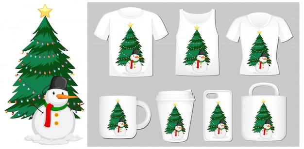 Motyw świąteczny Z Bałwanem Na Szablonach Produktów Darmowych Wektorów