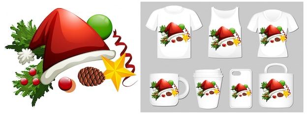 Motyw świąteczny Z Kapeluszem świątecznym Na Wielu Produktach Darmowych Wektorów