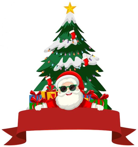 Motyw świąteczny Z Mikołajem I Prezentami Darmowych Wektorów