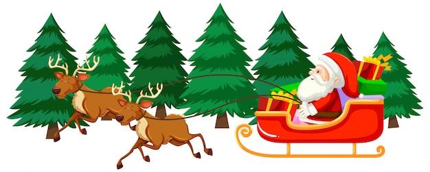 Motyw świąteczny Z Mikołajem Na Saniach Darmowych Wektorów
