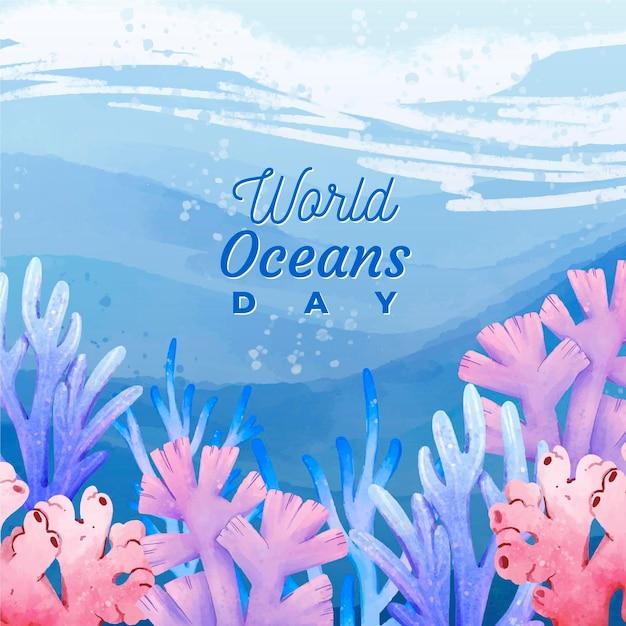 Motyw światowego Dnia Oceanów Premium Wektorów