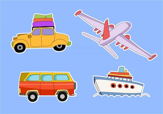 Motyw Transportu Z Samochodem, Samolotem, Ciężarówką, Taksówką, Statkiem Premium Wektorów