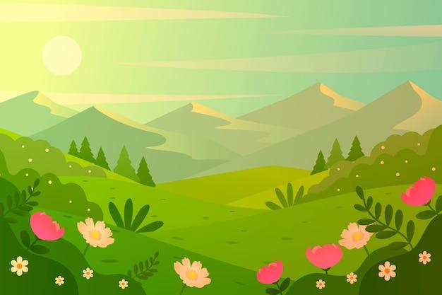 Motyw Wiosenny Dla Krajobrazu Darmowych Wektorów
