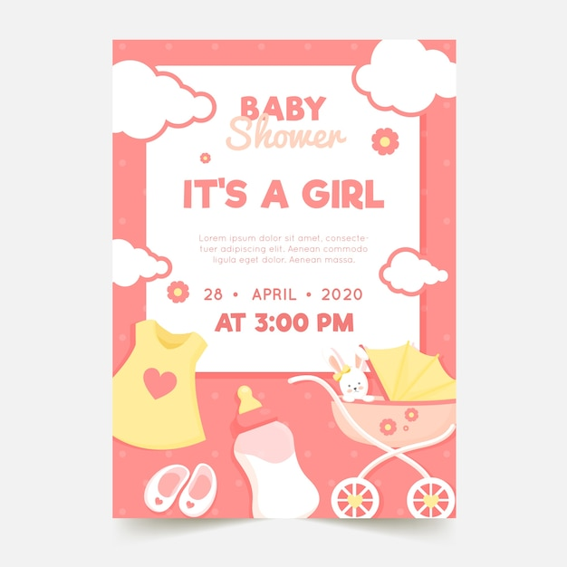 Motyw Zaproszenia Baby Shower Darmowych Wektorów