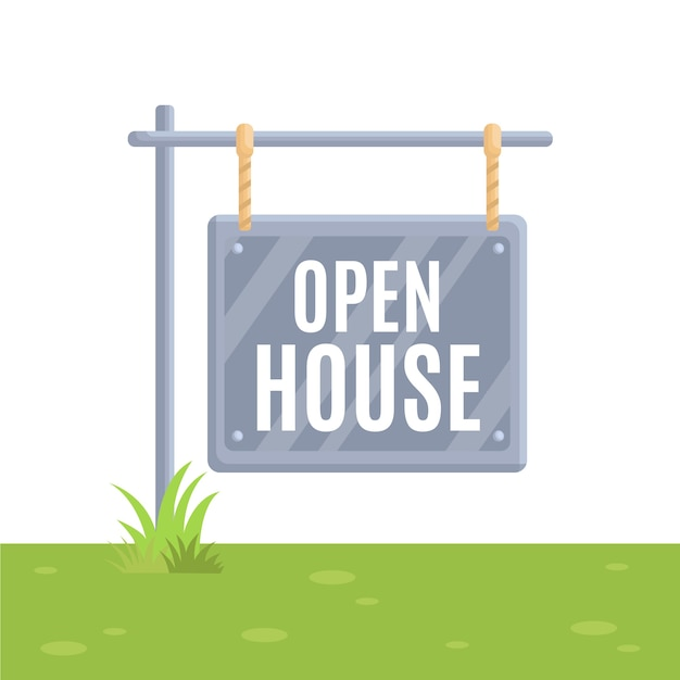 Motyw Znak Otwarty Dom Nieruchomości Darmowych Wektorów